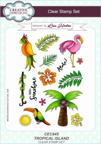 Creative Expressions Tropical Island A5 Clear Stamp Set