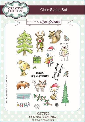 Creative Expressions Festive Friends A5 Clear Stamp Set