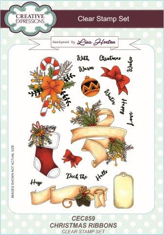 Creative Expressions Christmas Ribbons A5 Clear Stamp Set