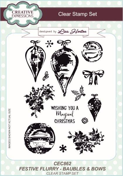 Creative Expressions Festive Flurry Baubles & Bows A5 Clear Stamp Set