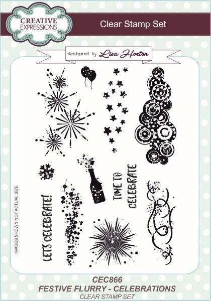 Creative Expressions Festive Flurry Celebrations A5 Clear Stamp Set