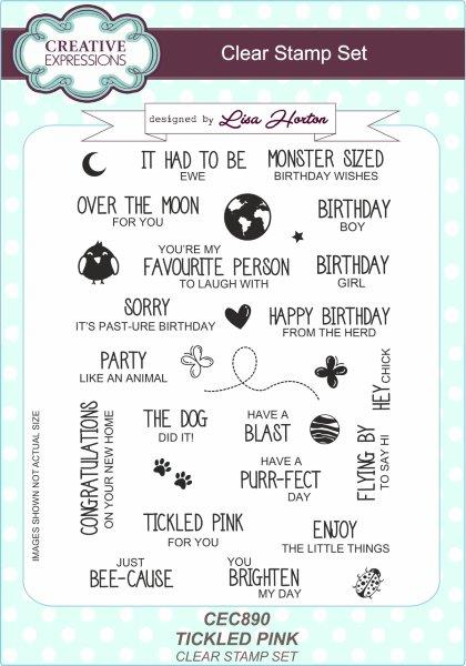 Creative Expressions Tickled Pink A5 Clear Stamp Set