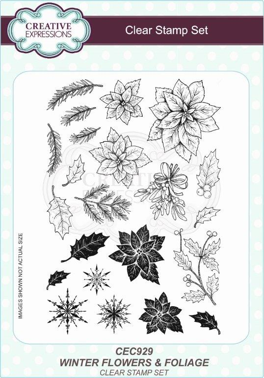 Creative Expressions Wintery Flowers and Foliage A5 Clear Stamp Set