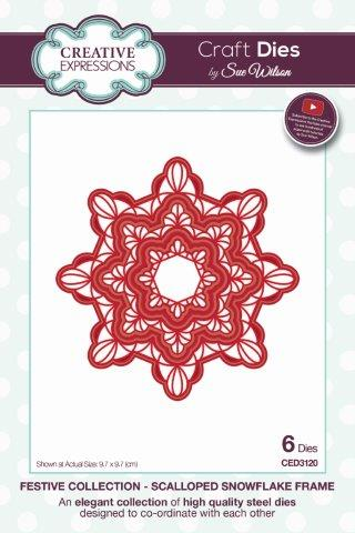 Creative Expressions Sue Wilson Festive Scalloped Snowflake Frame Craft Die