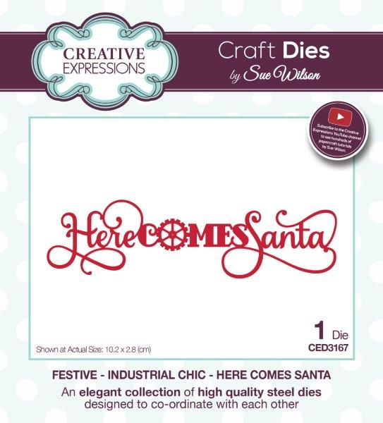 Creative Expressions Sue Wilson Festive Industrial Chic Here Comes Santa Craft Die
