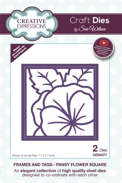 Creative Expressions Sue Wilson Frames and Tags Pansy Flower Square Craft Die