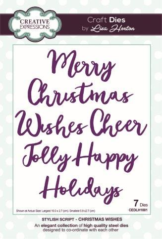 Creative Expressions Stylish Script  Christmas Wishes Craft Die