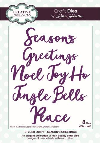 Creative Expressions Stylish Script  Seasons Greetings Craft Die