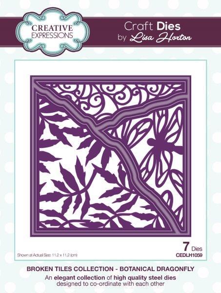 Creative Expressions Broken Tiles  Botanical Dragonfly