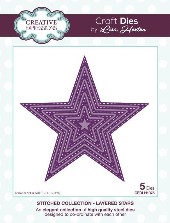 Creative Expressions Stitched  Layered Stars Craft Die