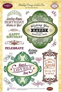 Justrite Birthday Vintage Labels Four Clear Stamp Set