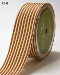 Ribbon GrosGrain Stripe Brown/Ivory 1.5