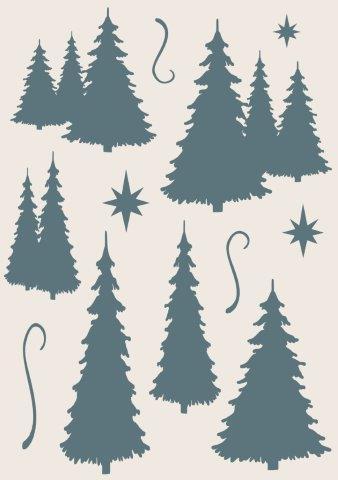 Sentimentally Yours Fir Trees A5 Stencil